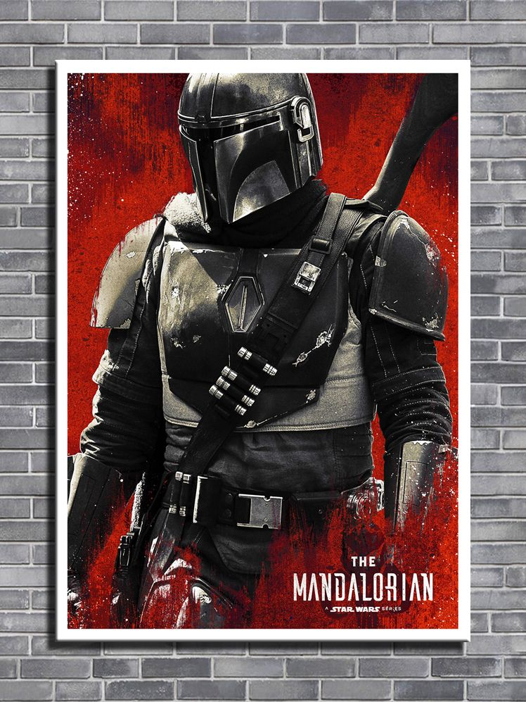 2010's TV - STAR WARS - THE MANDALORIAN RED canvas print - self adhesive poster - photo print