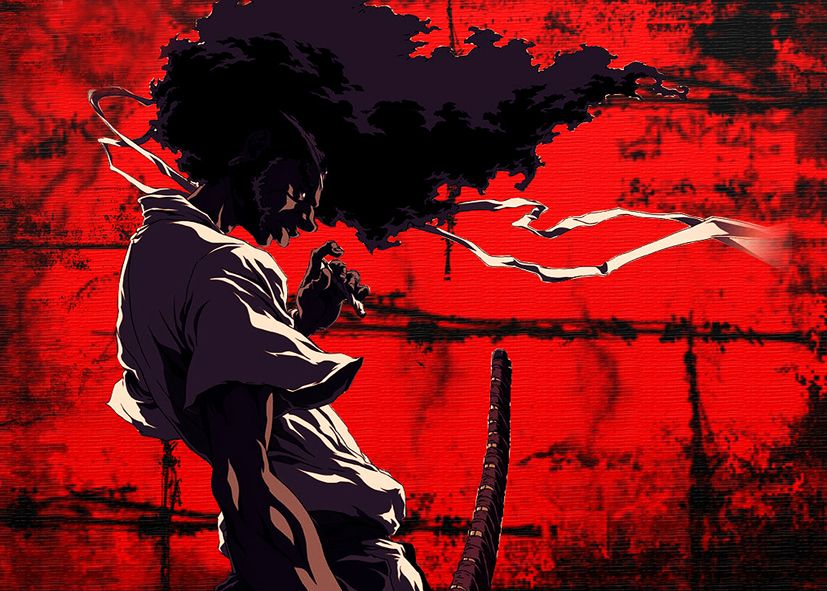 AFRO SAMURAI - RED 1 - Landscape canvas print - self adhesive poster - photo print