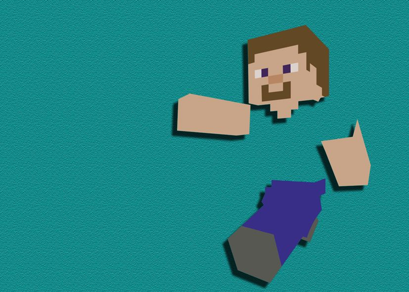GAMES - MINECRAFT STEVE CUT OUT ART SAND EFFECT canvas print - self  adhesive poster - photo print