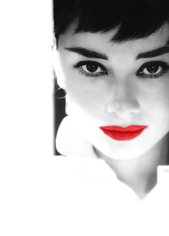 Iconic Audrey Hepburn Red Lips Canvas Print Self