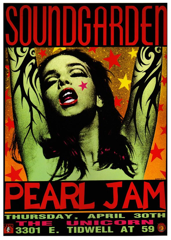 PEARL JAM  & SOUNDGARDEN - LIVE AT THE UNICORN canvas print - self adhesive poster - photo print