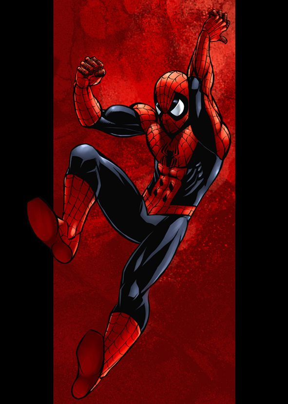 SPIDER MAN - FLYING KICK - RED ON BLACK canvas print - self adhesive poster - photo print