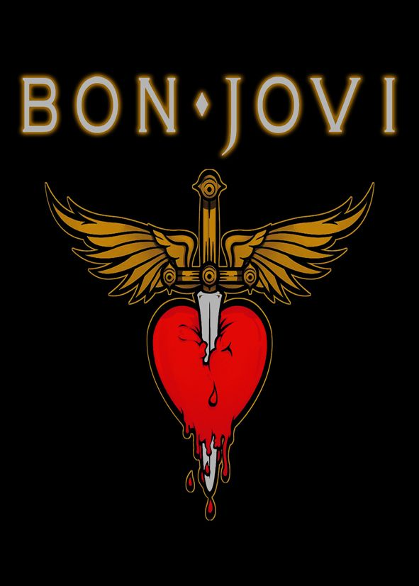 Bon Jovi Logo Black Silver Text Canvas Print Self
