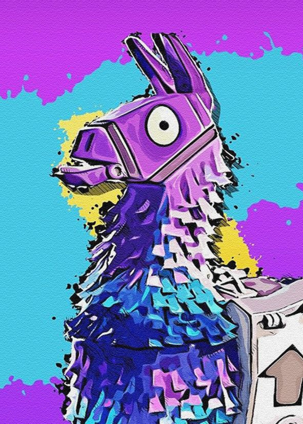 FORTNITE - LlAMA sandstone effect art portrait canvas print - self adhesive poster - photo print