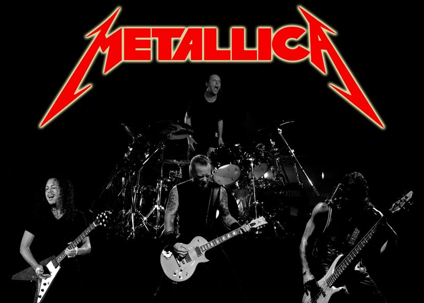METALLICA - BAND LIVE LOGO RED / canvas print - self adhesive poster - photo print