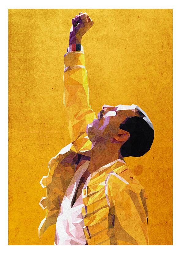 Queen - Freddie Mercury - YELLOW GLOW canvas print - self adhesive poster - photo print
